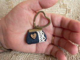 Denim Little Bag Key Ring