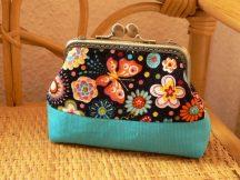 Kék bársony pénztárca 8 cm