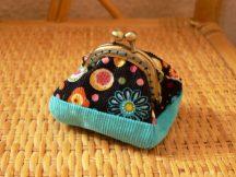Kék bársony pénztárca 4.5 cm