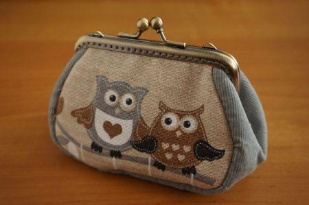 Baglyos szürke pénztárca 10 cm