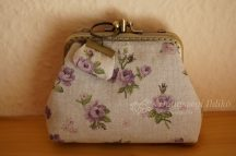 Clutch purse with purple roses