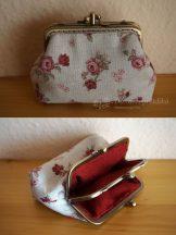 Bordó rózsás dupla pénztárca 10 cm