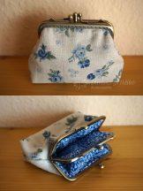 Kék rózsás dupla pénztárca  10 cm