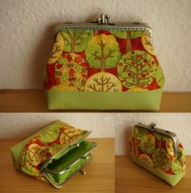Green Double Clutch Purse with Trees
