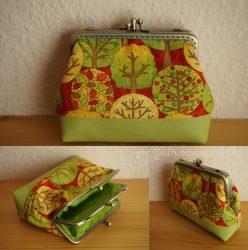 Dupla zöld pénztárca fákkal 12 cm