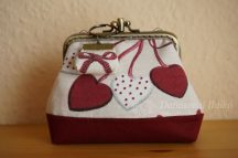Double Clutch Purse with Hearts, 10 cm