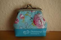 Virágos textilbőrös pénztárca  8 cm
