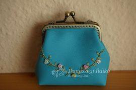 Kék hímzett textilbőr pénztárca 8 cm