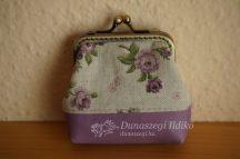 Lila rózsás pénztárca 10 cm