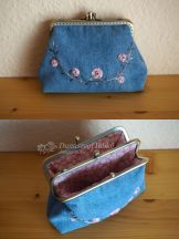 Double Clutch Embroidered Denim Purse