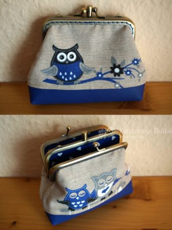 Double Clutch Purse with Owl, 10 cm
