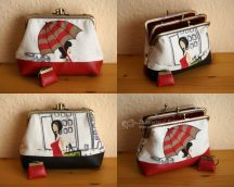 Half-and-half Double Clutch Purse (Red and Black)
