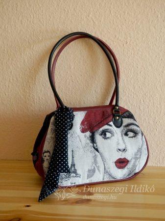 Rózsaszín-fekete táska 40 cm füllel